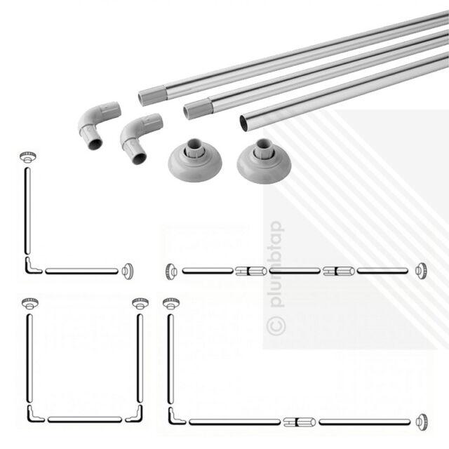 NEW Shower Curtain Rail Chrome - 4 Configurations   L-Shape / U-Shape / Straight