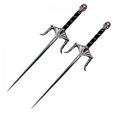 "Set of 2 22"" Chrome Skull Stainless Sai Karate Practice Martial Arts Sais NEW"