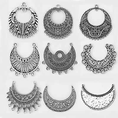 Half Moon Charm - 5Pcs Antique Silver Crescent Half Moon Charms Connectors Jewelry Making Findings
