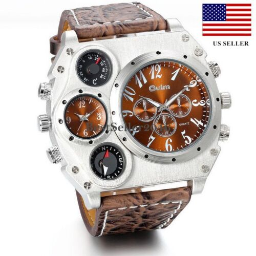 $16.99 - Luxury Quartz Sport Military Stainless Steel Dial Leather Band Wrist Watch Men