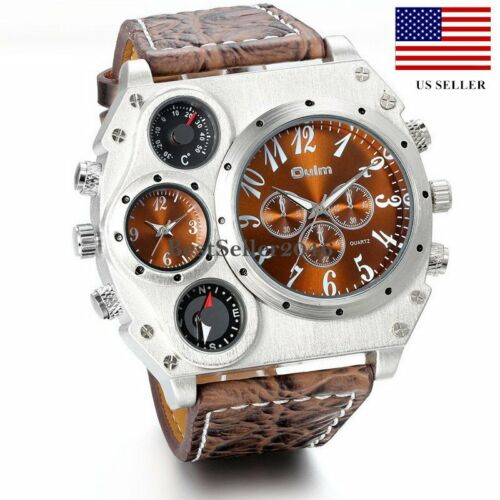 Mens Watches - Luxury Quartz Sport Military Stainless Steel Dial Leather Band Wrist Watch Men