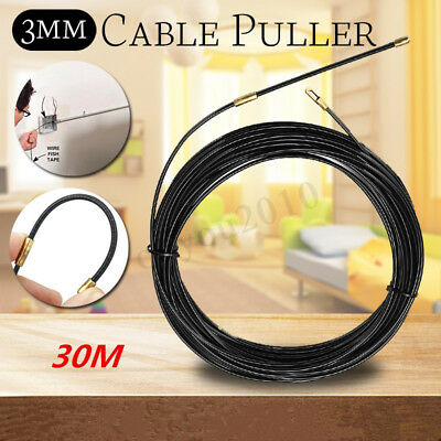 30m Electrician Fish Tape Conduit Nylon Electrical Cable Puller With Wheel