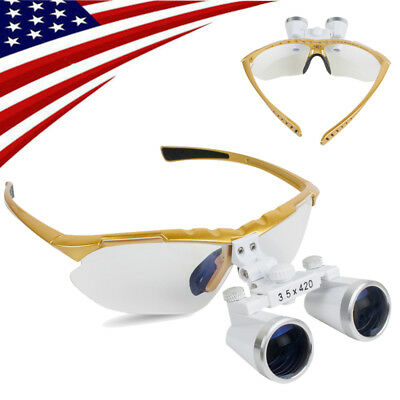 Yellow Dental Loupes Medical Surgical Binocular Loupes Light Weight 3.5x 420mm