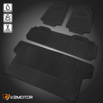 Black Heavy Duty All Weather Rubber Floor Mats FrontRearTrunk Seat Truck SUV