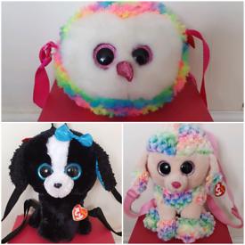 Ty Beanie Boo Gear Dogs Owl Handbags Rucksacks Bags Tracey Rainbow poo