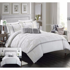 10 PIECE REVERSIBLE COMFORTER SET WHITE SIZE QUEEN