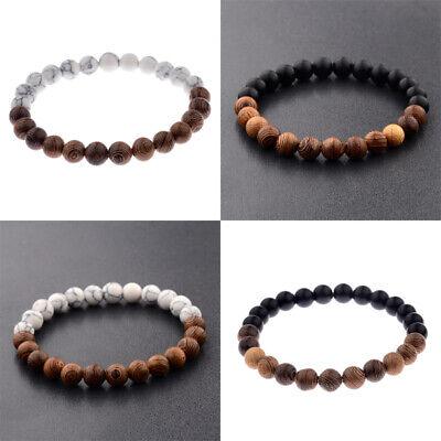 Mann Arm (Perlenarmband Herren Damen Armband Holz Perlen Steine Mann Frau Männer Frauen)
