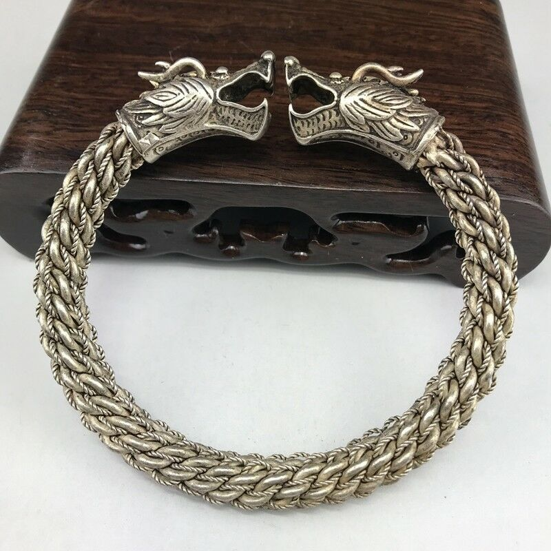 Old Chinese Wonderful Handwork Miao Silver Dragon Bracelet