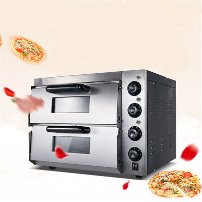 Commercial Bread Making Machines Double Electric Pizza Oven Pizza 110v 3kw