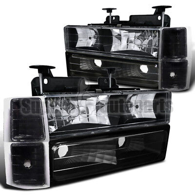 1994-1998 C10 C/K Suburban Pickup Headlights Black W/ Bumper+Corner Lamps 8PCS