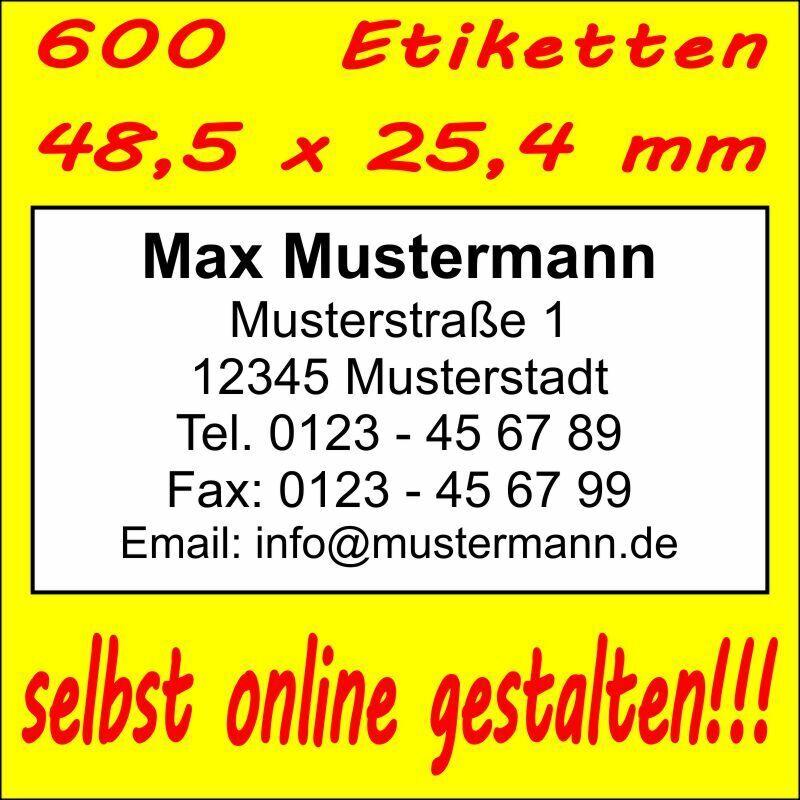 600 Absender Etiketten Adress-Aufkleber Adress-Etikett  Druck selbst gestalten