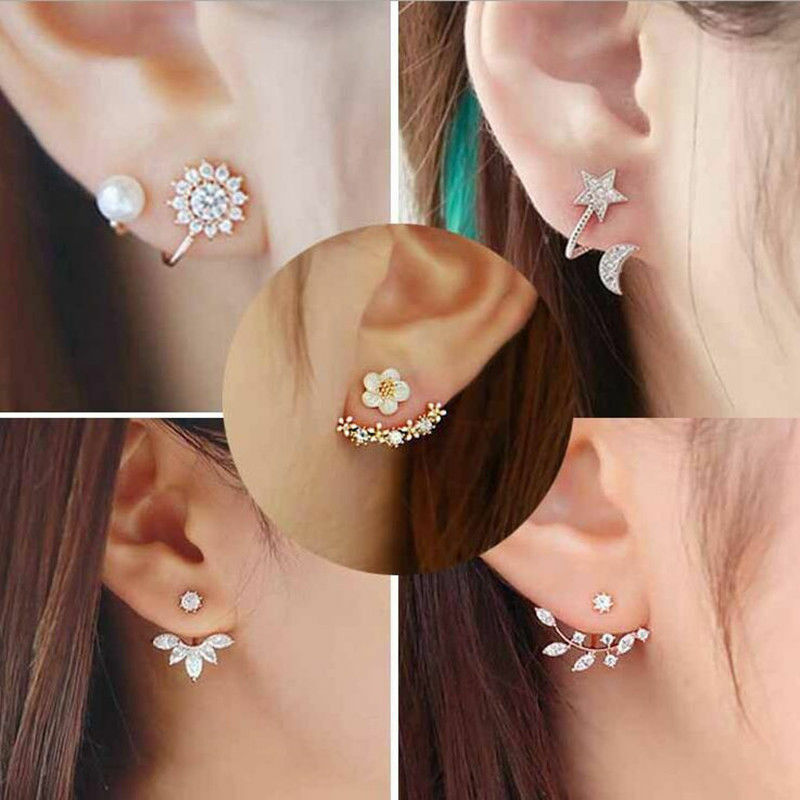 New Fashion Women Lady Elegant 1Pair Crystal Rhinestone Ear Stud Earrings Earrings
