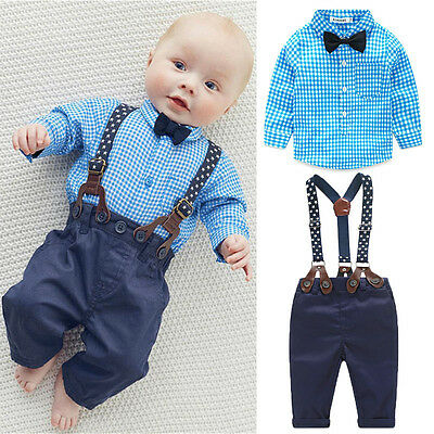 (2Pcs Newborn Infant Baby Boys Gentleman Clothes Shirt Tops Bib Pants Outfits Set)
