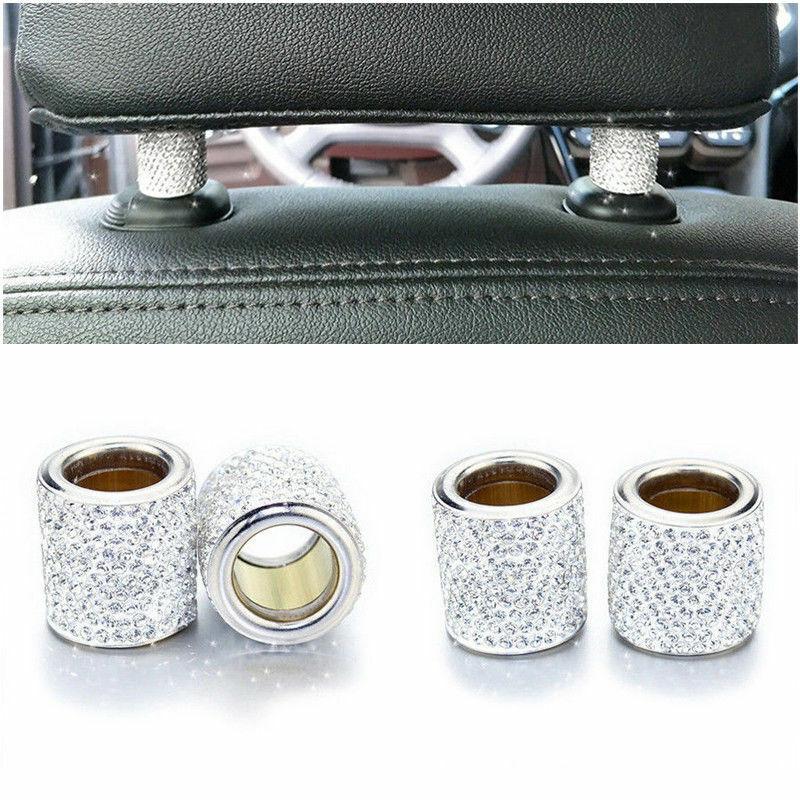 1Pc Car Seat Headrest Collar Women Collar Ring Ornaments Rhinestone Decor Bling