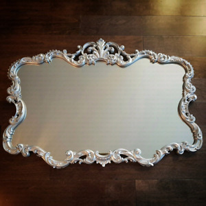 """Gorgeous vintage mirror painted in silver """"38 x """"26 $225"""