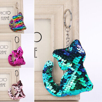 Sequins Keychain Keyring Key Chain Ring Women Handbag Charm Pendant Decor 13CA