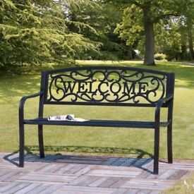 Cast Iron Garden Bench With Welcome Design