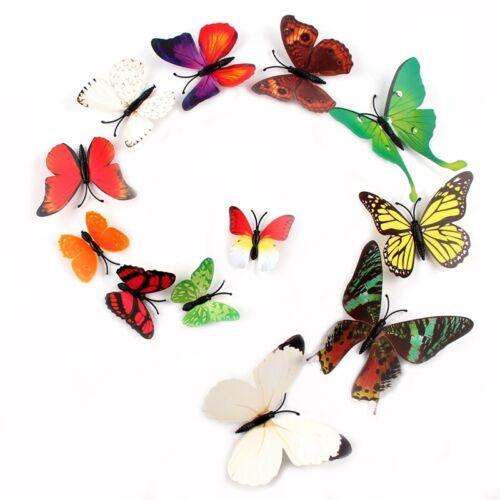 12pcs 3D Butterfly Sticker Art Design Decal Wall Decals Kids Home Decor Magnet