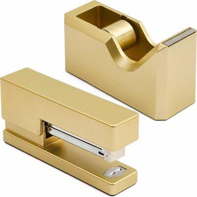 Gold Office Stapler And Tape Dispenser Set Matte Gold 2 Pieces