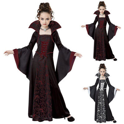 Child Vampire Girl Costume For Halloween (Medieval Vampire Cosplay Halloween Costume For Kids Girl Witch Dress Child)