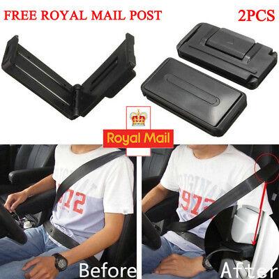 2x Black Car Seat Belt Comfort Strap Adjuster Support Clip Improve Safety Aid UK