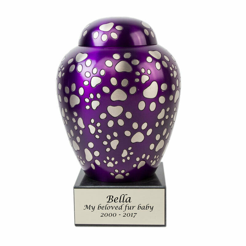 Paws of Love Bronze Dog Cremation Urn - Medium  Purple
