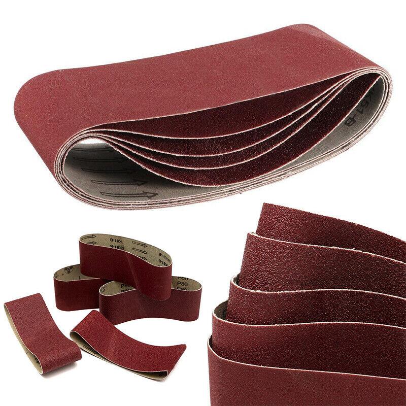 "5x 75x457mm 3""x18"" Sanding Belts Mixed Grits 60 80 100 120 2"