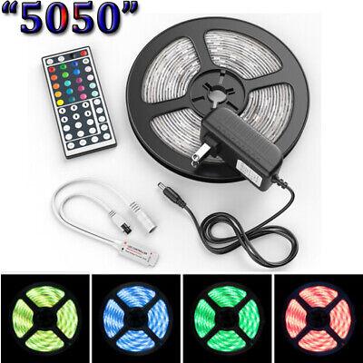 US Stock 5M 5050 LED Strip Light RGB SMD Tape Ribbon Lamp Stripe Full Kit
