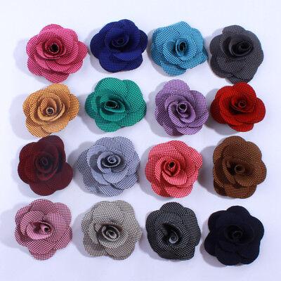 30PCS 5.5CM Fashion Rosette Rose Burlap Flowers For Dress Decoration Head Wear](Burlap Flowers Bulk)