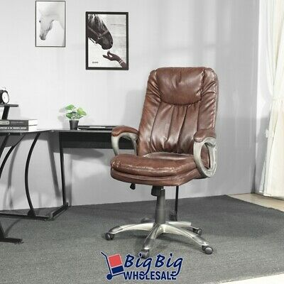 Boss Leather Chair - Boss Office Chair Brown Leather Swivel Ergonomic Adjustable High Back Gas Lift