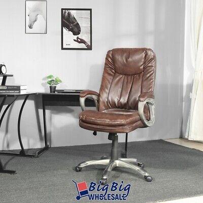 Boss Office Chair Brown Leather Swivel Ergonomic Adjustable