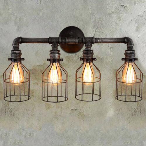 Industrial Steampunk Vanity Lighting Rustic Pipe Cage Wall L