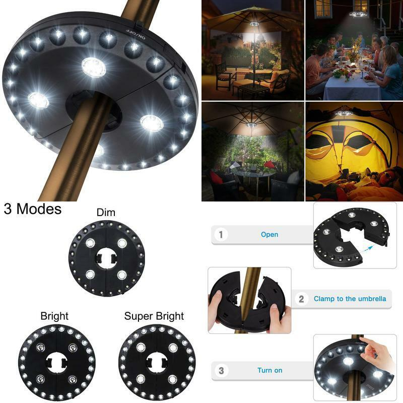 Oyoco Patio Umbrella Light 3 Brightness Modes Cordless 28 Le
