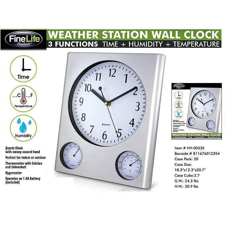 weather station wall clock indoor temperature humidty
