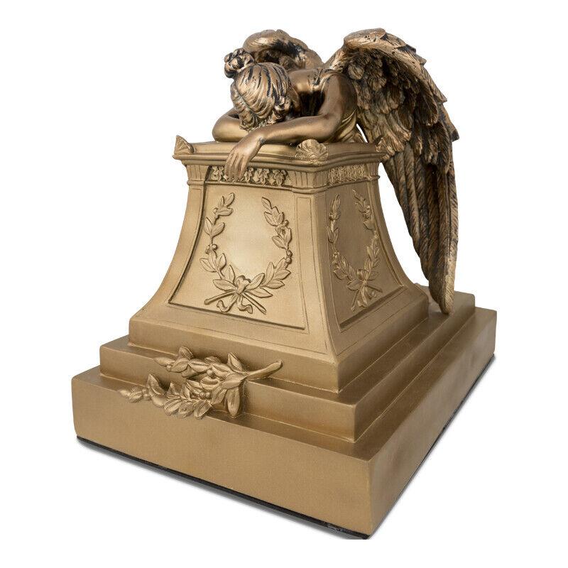 Angelo Triste Polyresin Cremation Urn for Ashes - Extra Large Golden Bronze