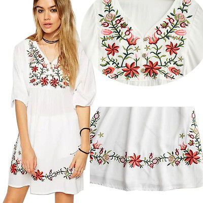 Women Mexican Ethnic Embroidered Floral Gypsy Loose Blouse Boho Mini Dress Hot ()