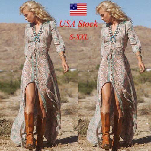 Dress - Women Chiffon Beach Dress Summer Boho Fashion Long Maxi Evening Party Dresses