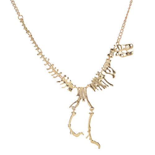 Dinosaur Skeleton Bib Necklace Statement Bones Punk Steampunk Jewelry BL3