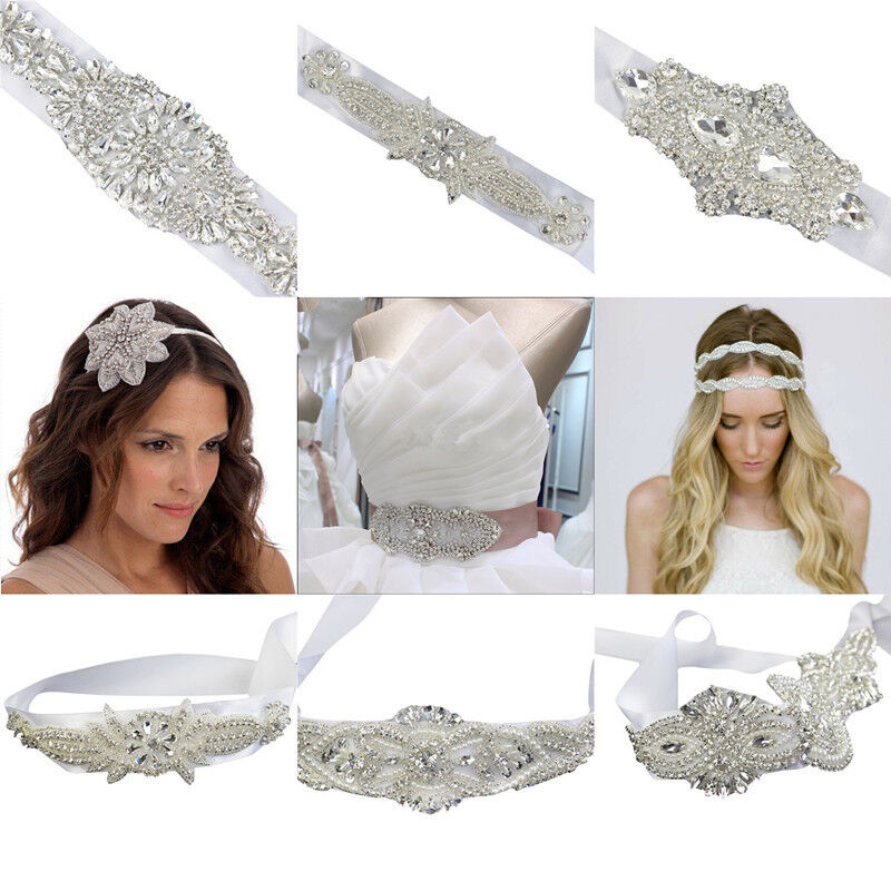 Rhinestone Beaded Applique Wedding Bridal Dress Belt Sash Ribbon Waistband DIY