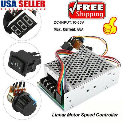 Dc Brush Motor Speed Controller Pwm Control Regulator Soft Start 10-55vdc Max60a