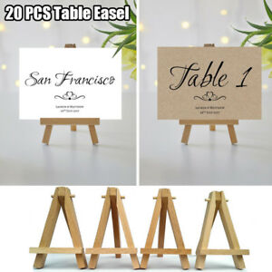 20pcs Mini Wooden Cafe Table Number Easel Wedding Place Name Card Holder Stand