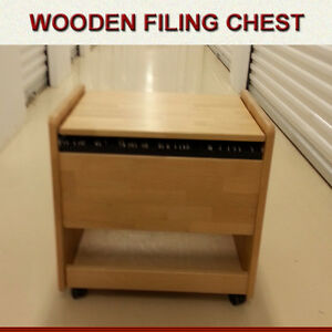 SOLID WOOD FILING CABINET - ON WHEELS GREAT CONDITION