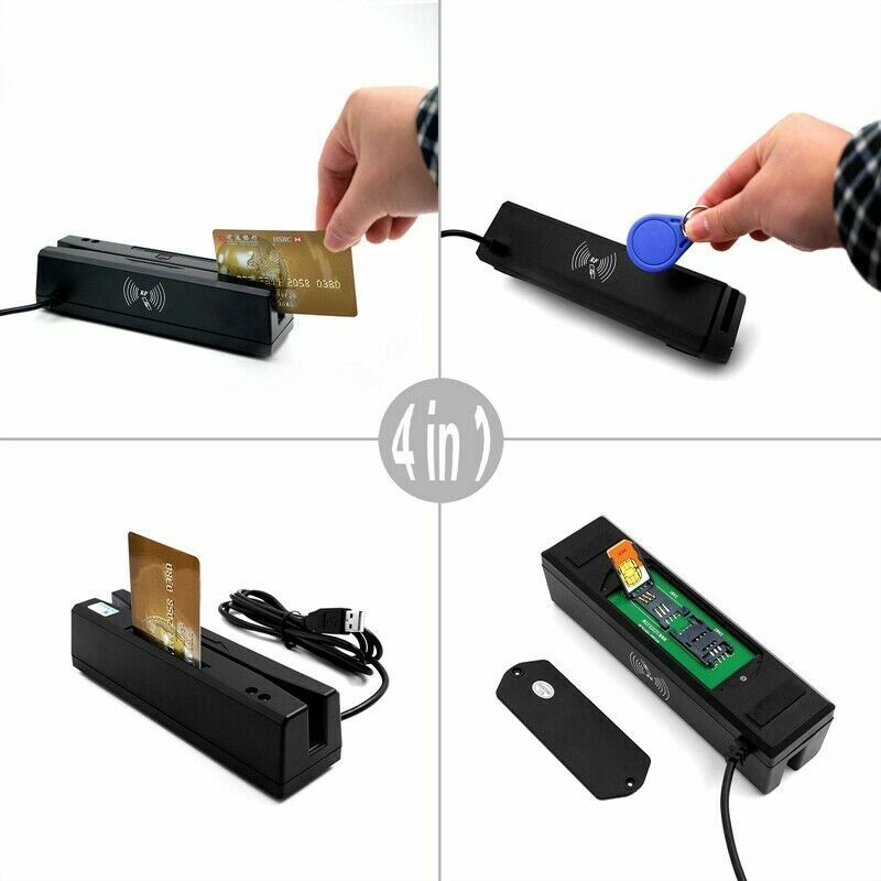 Magnetic Stripe Credit Card RFID IC Chip PSAM Reader Encoder Writer Swipe 4 in 1