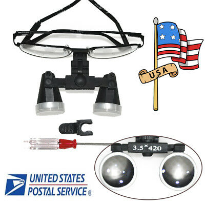 Us Fda Black Metal Frame Dental Surgical Binocular Loupes 3.5x 420 Optical Glass
