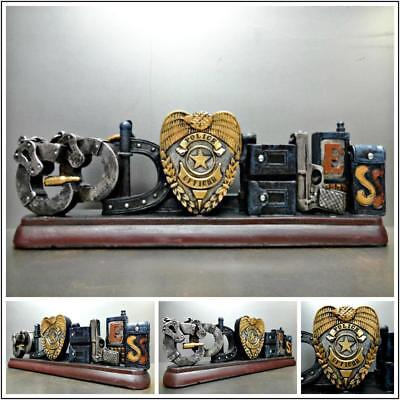 POLICE OFFICER COP God Bless PLAQUE HOME OFFICE DECORATION SCULPTURE Unique Gift