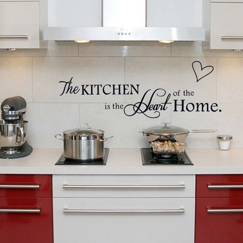 Details about Kitchen Is A Heart Of The Home Quotes Art Wall Stickers Home  Kitchen Decals US