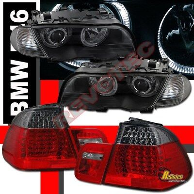 BMW E46 4DR 325i 328i 330i Halo Projector Headlights & Corner & LED Tail lights  for sale  Shipping to Canada