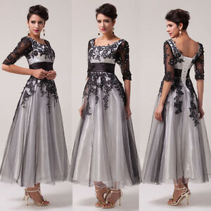 Vintage-Retro-Half-Sleeve-Lace-Evening-Quinceanera-Party-Formal-Swing-Long-Dress