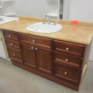 Vanity Complete w/Countertop, Sink & Faucet - Cherry Wood finish
