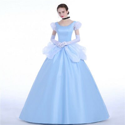 Cinderella Disney Cosplay Costume Abend Kleid Kostüm Princess dress Party (Disney Satin Kostüm)